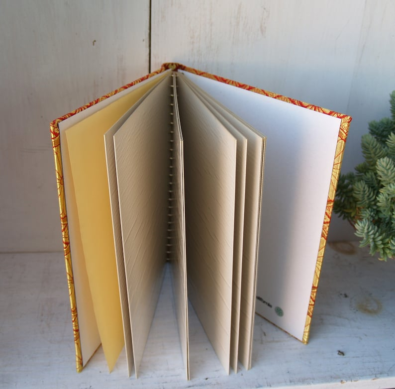 Vintage Tapestry Covered Photo Album Red and Gold from Japan