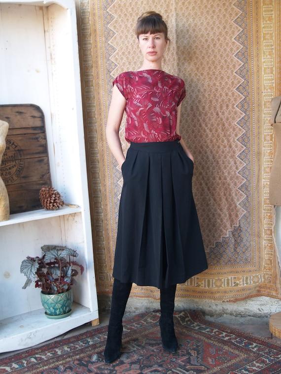 Vintage Black Culottes//Gaucho Pants