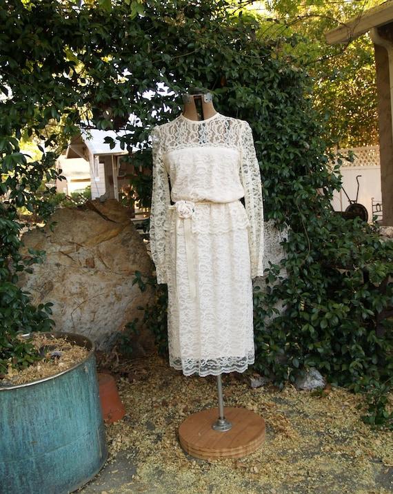 Vintage 1980 S Ivory Lace Blouson Wedding Dress With Etsy