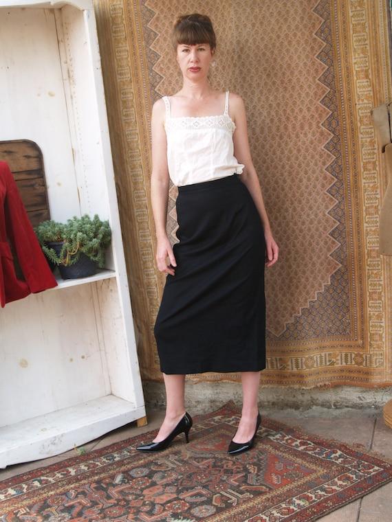 Vintage Fifties Black Wool Pencil Skirt