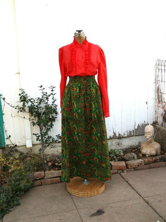 Mod Velvet Paisley Flourescent Maxi Skirt