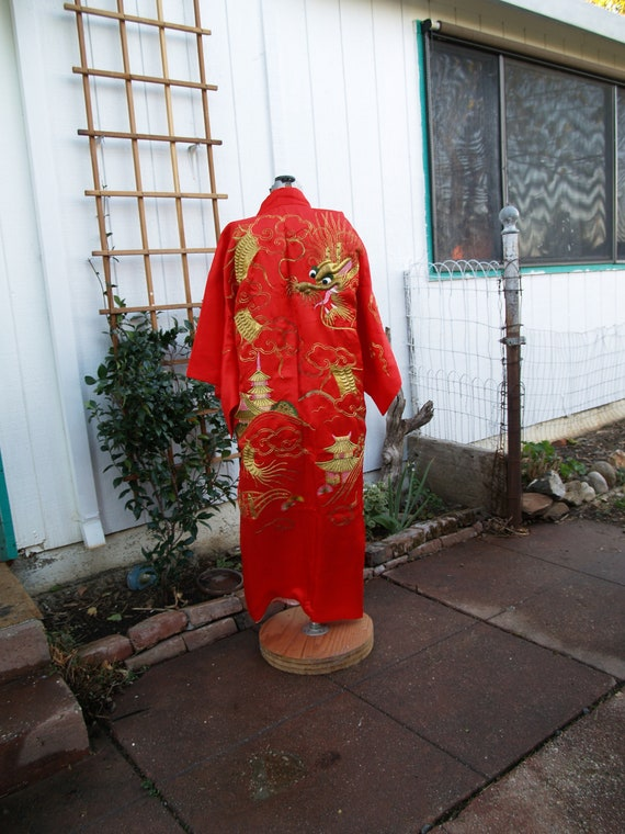 Vintage Full Length Chinese Red Silk Dragon Embroi
