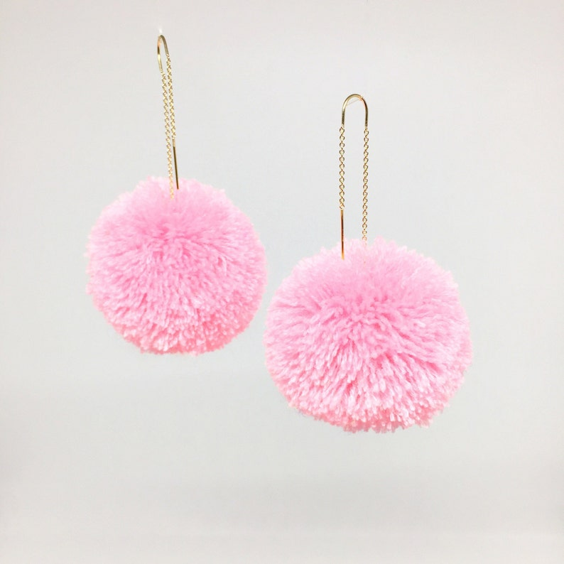 6e64155bb2e634 Pom pom drop threader earrings   Etsy