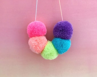 5 pom Pastel rainbow necklace on pastel ombre cord
