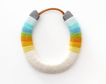 Serape styled lucky yarn wrapped horseshoe-Pacifica