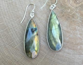 Labradorite Drop Earrings- Sterling Silver Labradorite Earrings-Silver Bridesmaid Earrings- Bridal Earrings