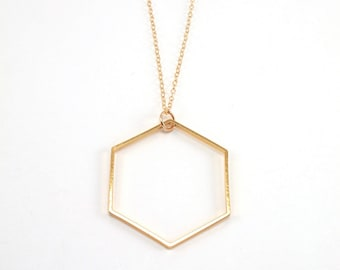Hexagon Necklace, Large Gold Hexagon Pendant, Long Necklace, Gold Necklace, Honeycomb Necklace