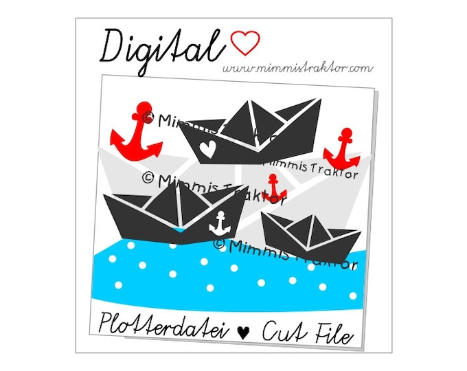 Cut File SVG, DXF, Instant Digital Download, Paper Boats, Anchor, limited commercial use