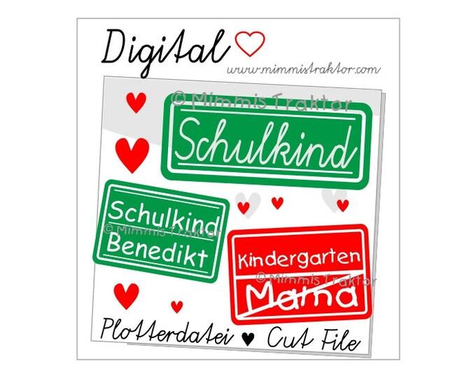 Cut File SVG, DXF, Instant Digital Download, Schulkind Kindergarten, limited commercial use