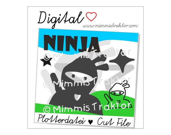 Cut File SVG, DXF, Instant Digital Download, Ninja with throwing star, limited commercial use