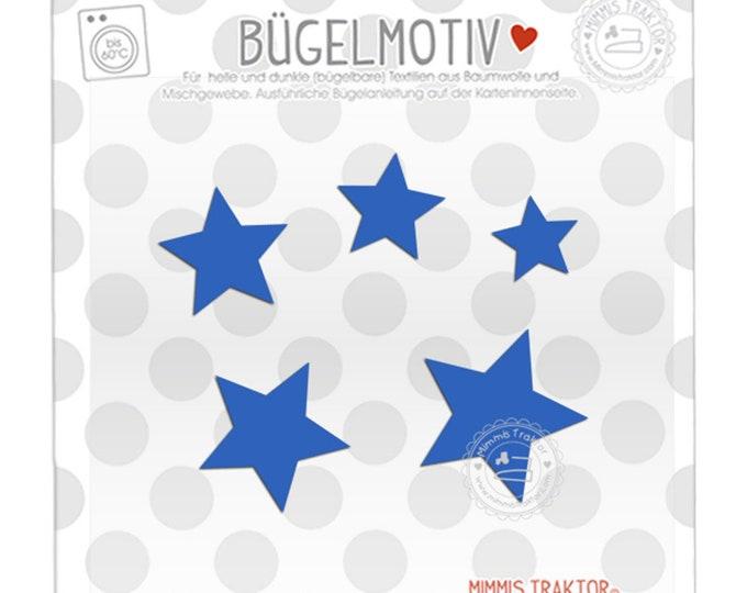 Bügelbild 5 Sterne 4 - 2 cm : blau