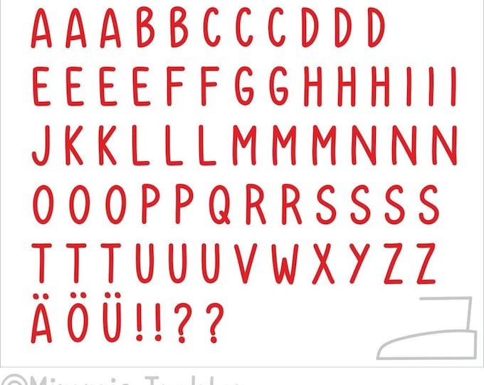 Bügelbild Alphabet 3 cm Kids : rot