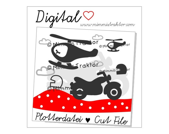 Cut File SVG, DXF, Instant Digital Download, motorbike, motorcycle, helicopter, limited commercial use