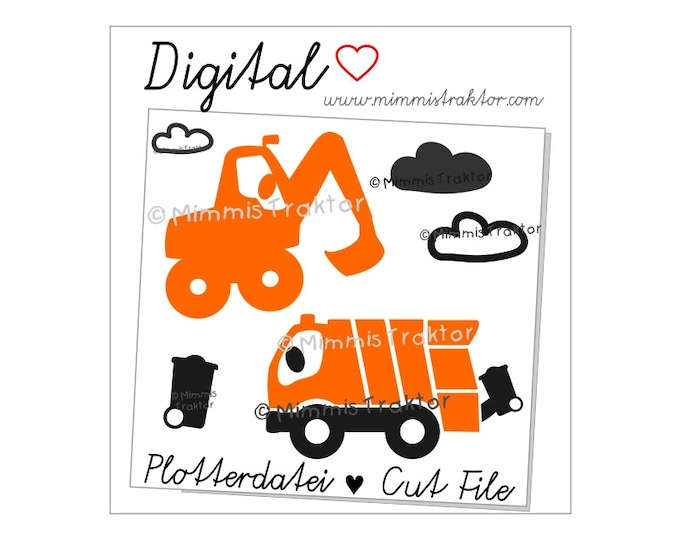 Cut File SVG, DXF, Instant Digital Download, garbage truck, refuse lorry, digger, power shovel, limited commercial use