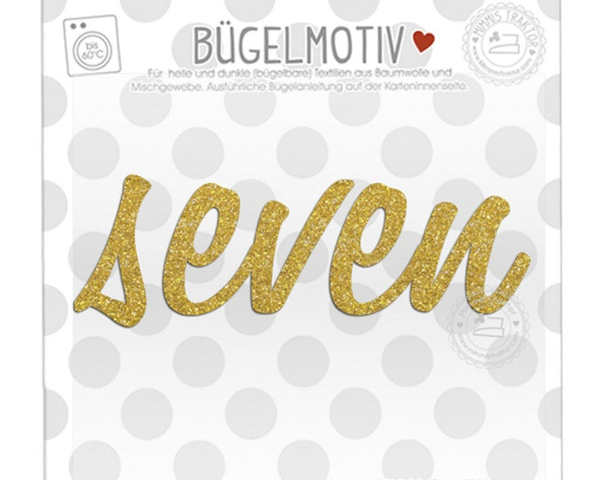 GLITZER Bügelbild Schriftzug GOLD : seven