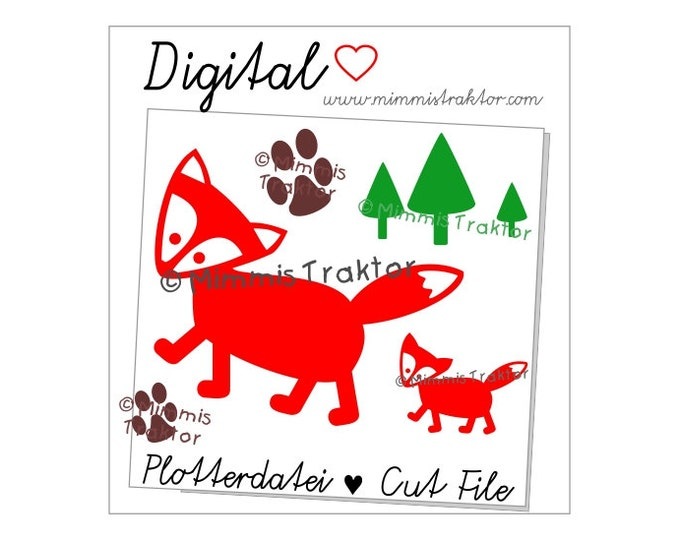 Cut File SVG, DXF, Instant Digital Download, Fox Fox's track, limited commercial use