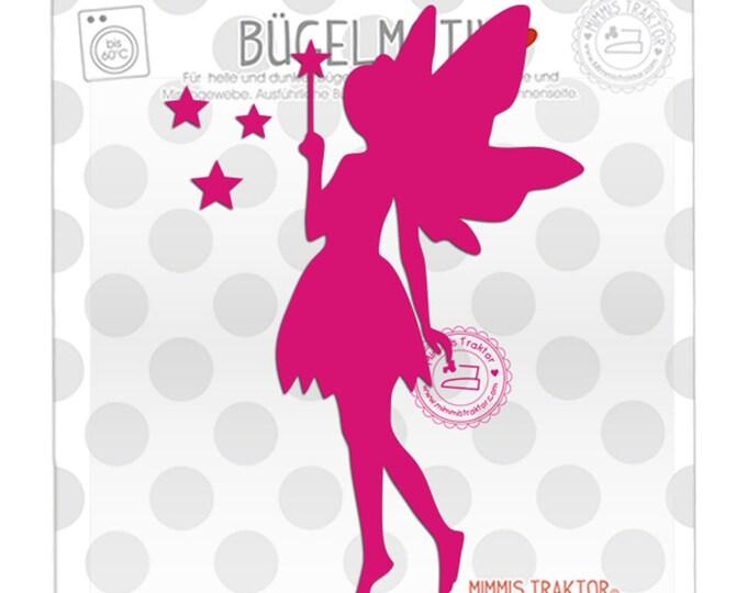 Bügelbild Elfe Fee mit Sternen 14 cm : pink
