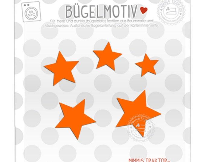 Bügelbild 5 Sterne 4 - 2 cm : orange