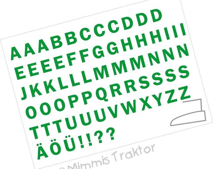 Bügelbild Alphabet 2 cm Druck : grün