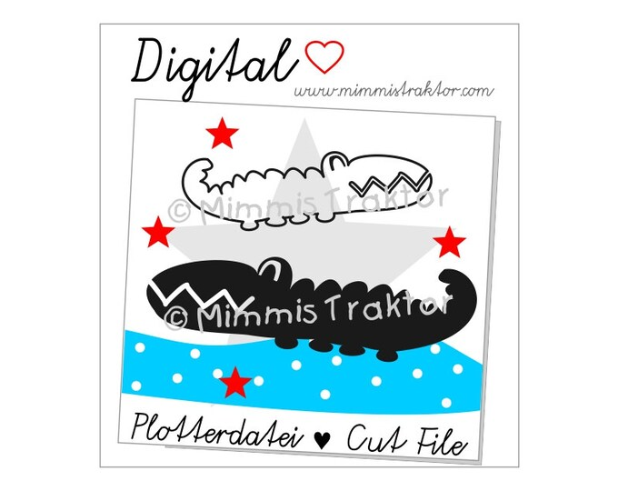 Cut File SVG, DXF, Instant Digital Download, Crocodile Star, limited commercial use