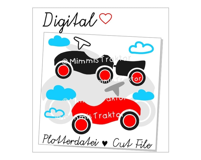 Cut File SVG, DXF, Instant Digital Download, Push-powered cars, ride on vehicles, limited commercial use