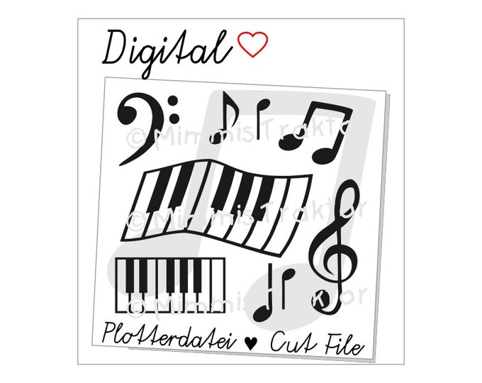 Cut File SVG, DXF, Instant Digital Download, Musik Piano Music Notes, limited commercial use