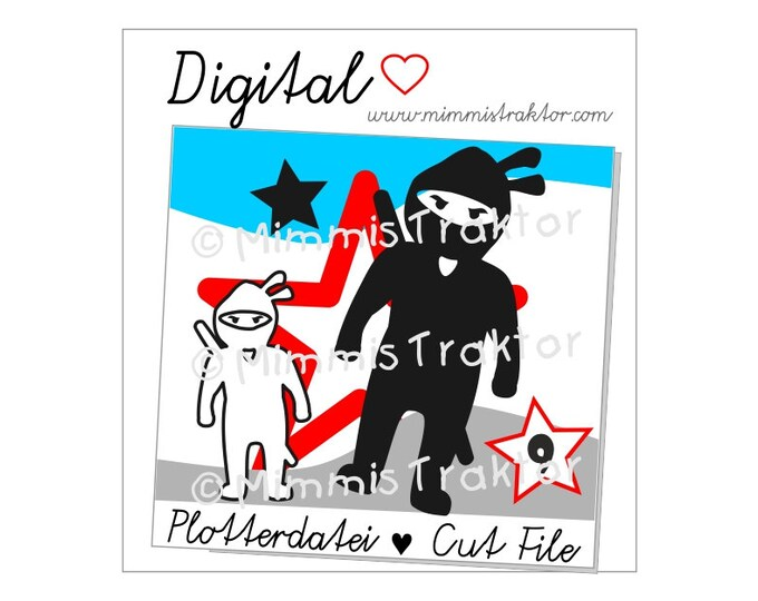 Cut File SVG, DXF, Instant Digital Download, Ninja with Sword, limited commercial use