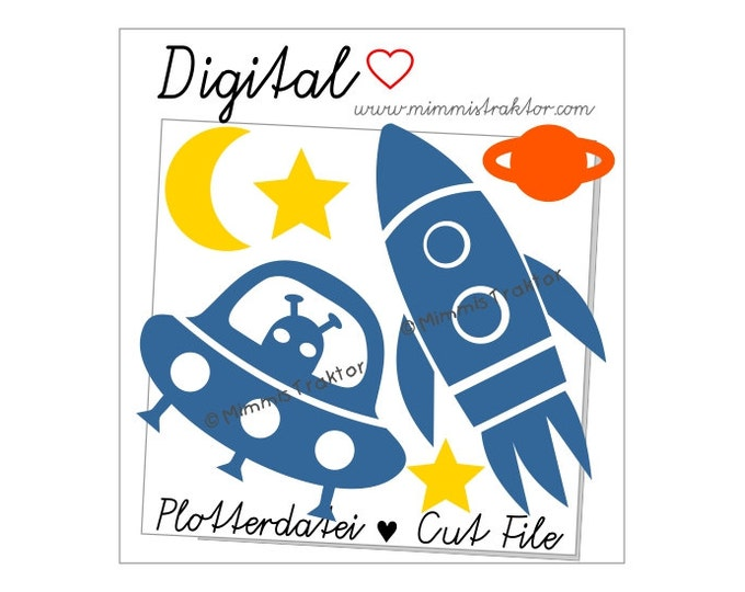 Cut File SVG, DXF, Instant Digital Download, Space Shuttle / Rocket UFO, limited commercial use