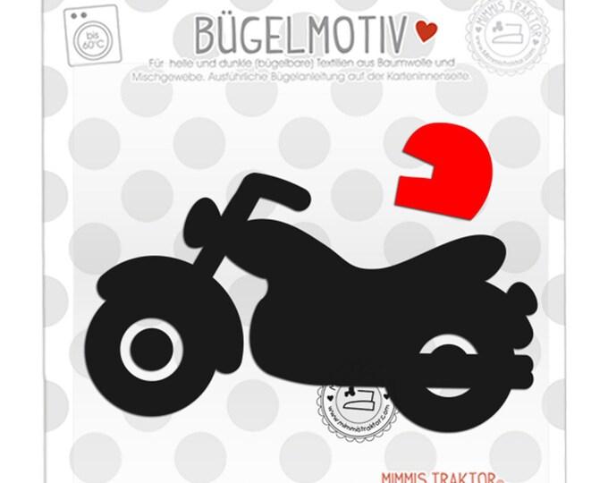 Bügelbild Motorrad 12,8 cm x 7,3 cm SCHWARZ