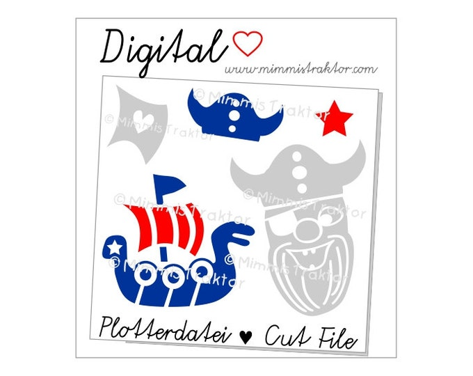 Cut File SVG, DXF, Instant Digital Download, Viking Viking's Ship, limited commercial use