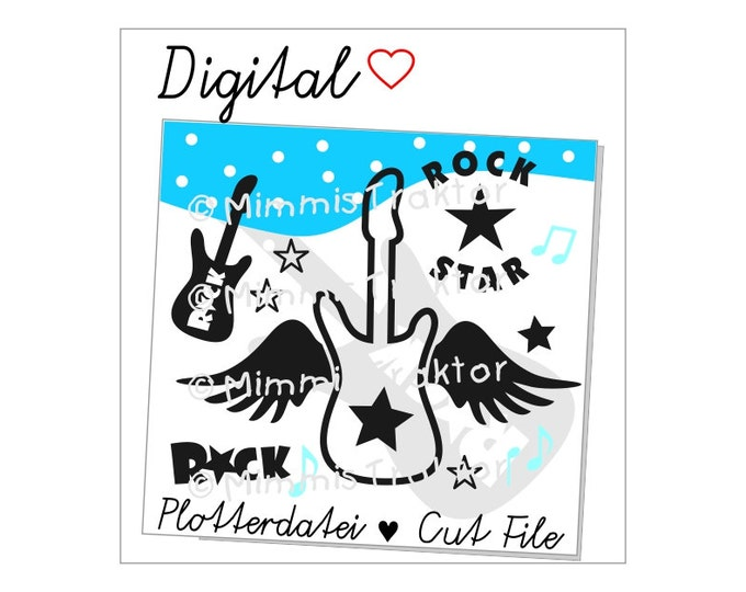 Cut File SVG, DXF, Instant Digital Download, Rock guitar wings, limited commercial use