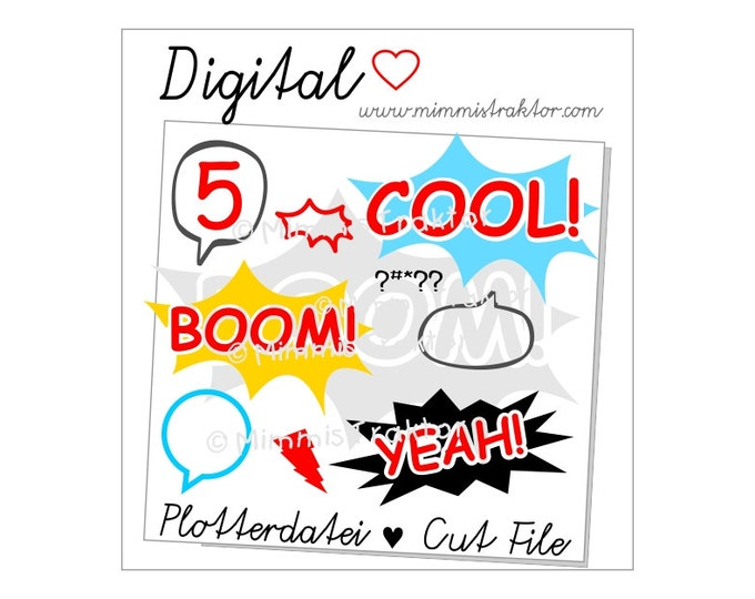 Cut File SVG, DXF, Instant Digital Download, Comic & Text Bubles, limited commercial use