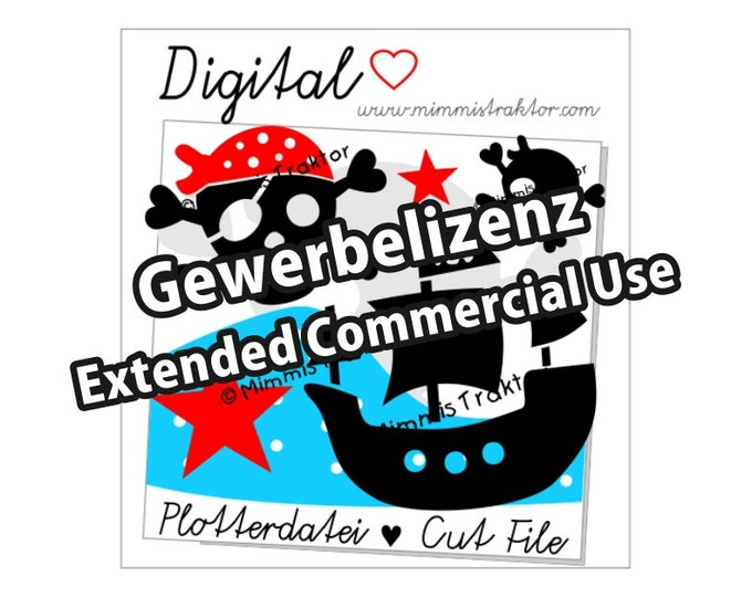 Additional commercial license, Pirates Pirate's Ship, Instant Digital Download,