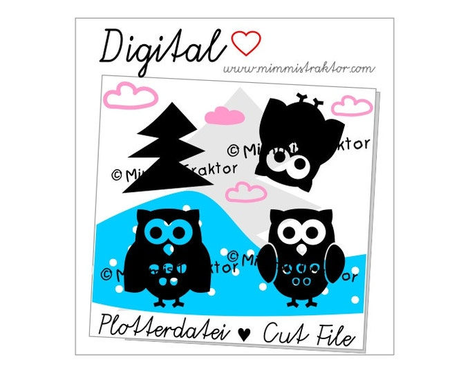 Cut File SVG, DXF, Instant Digital Download, Owl Forest Tree, limited commercial use