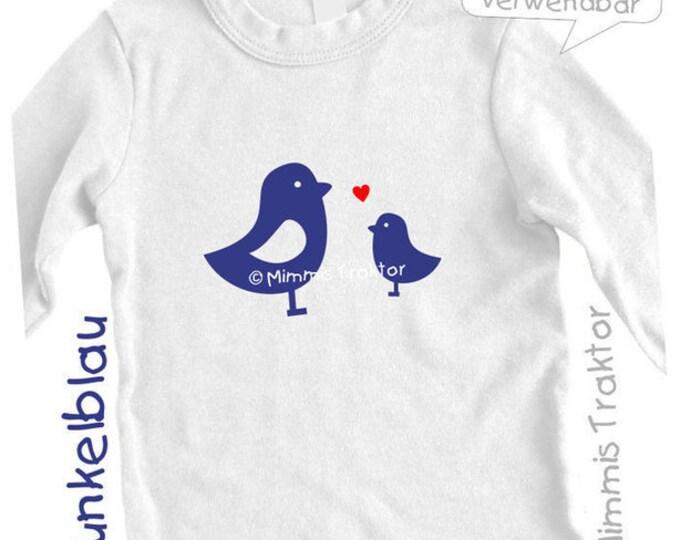 Bügelbild 2 Vögel mit Herz 9 und 5 cm DUNKELBLAU