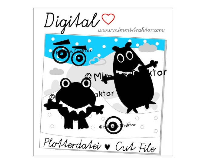 Cut File SVG, DXF, Instant Digital Download, Monster, Saucer Eyes, limited commercial use