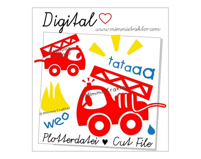 Cut File SVG, DXF, Instant Digital Download, Fire Engine / Truck Fire, limited commercial use