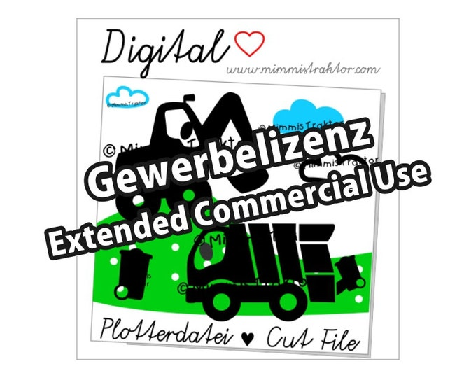Additional commercial license, garbage truck, digger, Instant Digital Download,