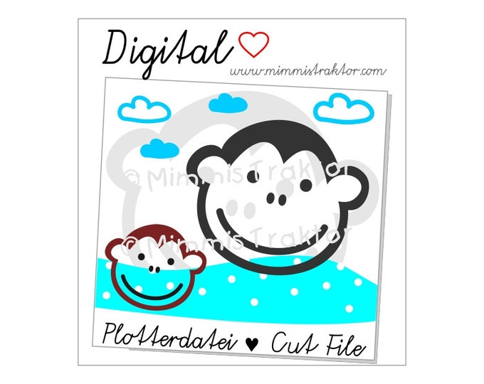 Cut File SVG, DXF, Instant Digital Download, Monkey Clouds, limited commercial use