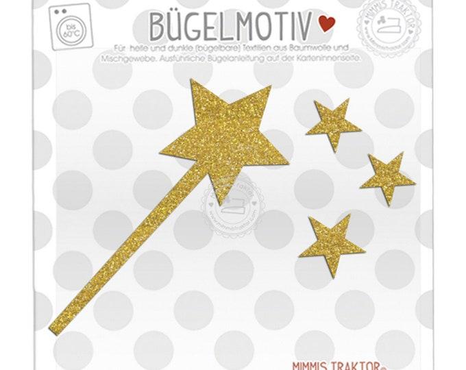 GLITZER Bügelbild Zauberstab + Sterne 18 cm GOLD