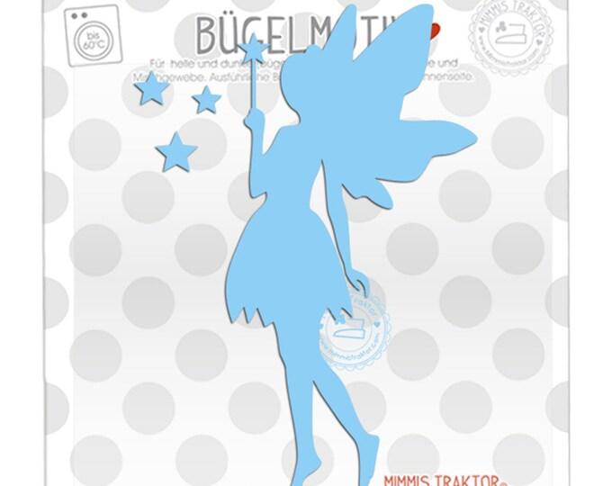 Bügelbild Elfe Fee mit Sternen 14 cm : hellblau