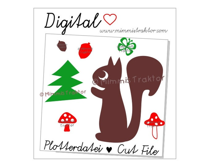 Cut File SVG, DXF, Instant Digital Download, Squirrel Mushrooms, limited commercial use