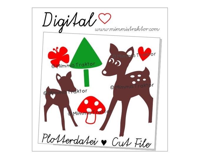 Cut File SVG, DXF, Instant Digital Download, deer forest woods mushrooms, limited commercial use