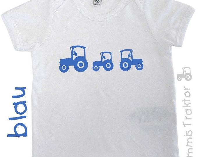 Bügelbild 3 Traktoren 6 cm bis 4,3 cm BLAU