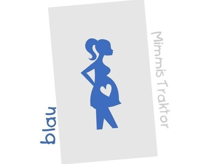 Bügelbild Schwangere 4 cm x 9 cm : blau