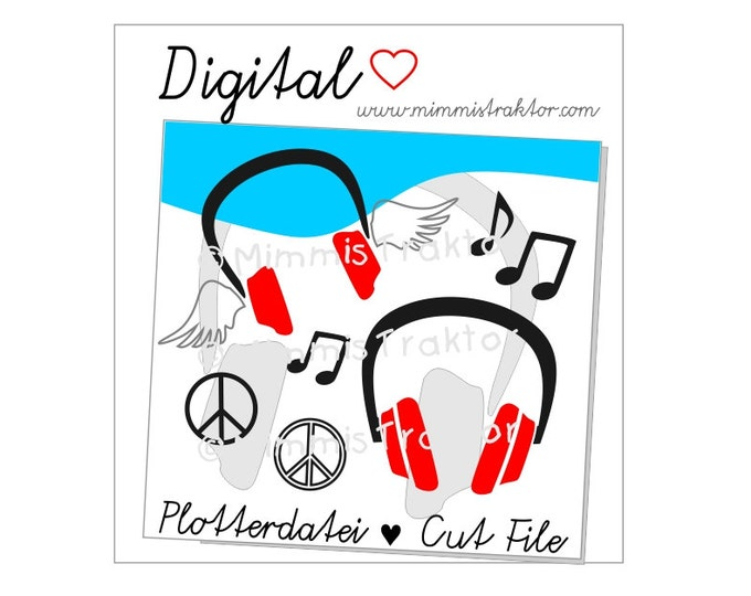 Cut File SVG, DXF, Instant Digital Download, Headphones PEACE, limited commercial use