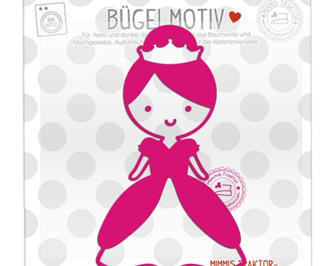 Bügelbild Prinzessin 7,7 cm x 12,7 cm PINK