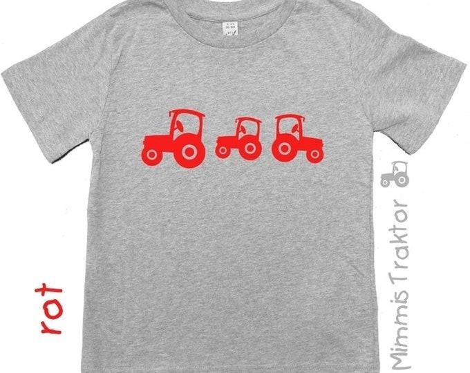 Bügelbild 3 Traktoren 6 cm bis 4,3 cm ROT