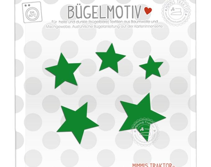 Bügelbild 5 Sterne 4 - 2 cm : grün
