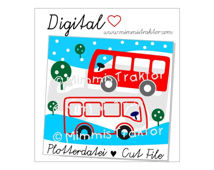 Cut File SVG, DXF, Instant Digital Download, Autobus Tree, limited commercial use